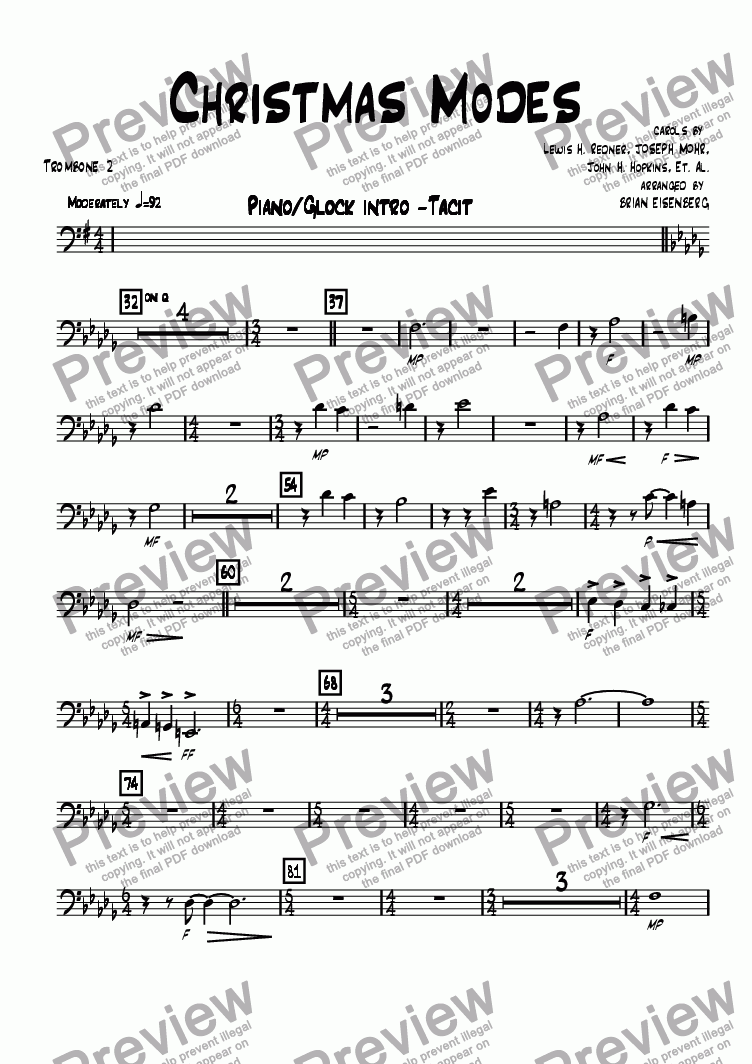 page one of the Trombone 2 part from Christmas Modes