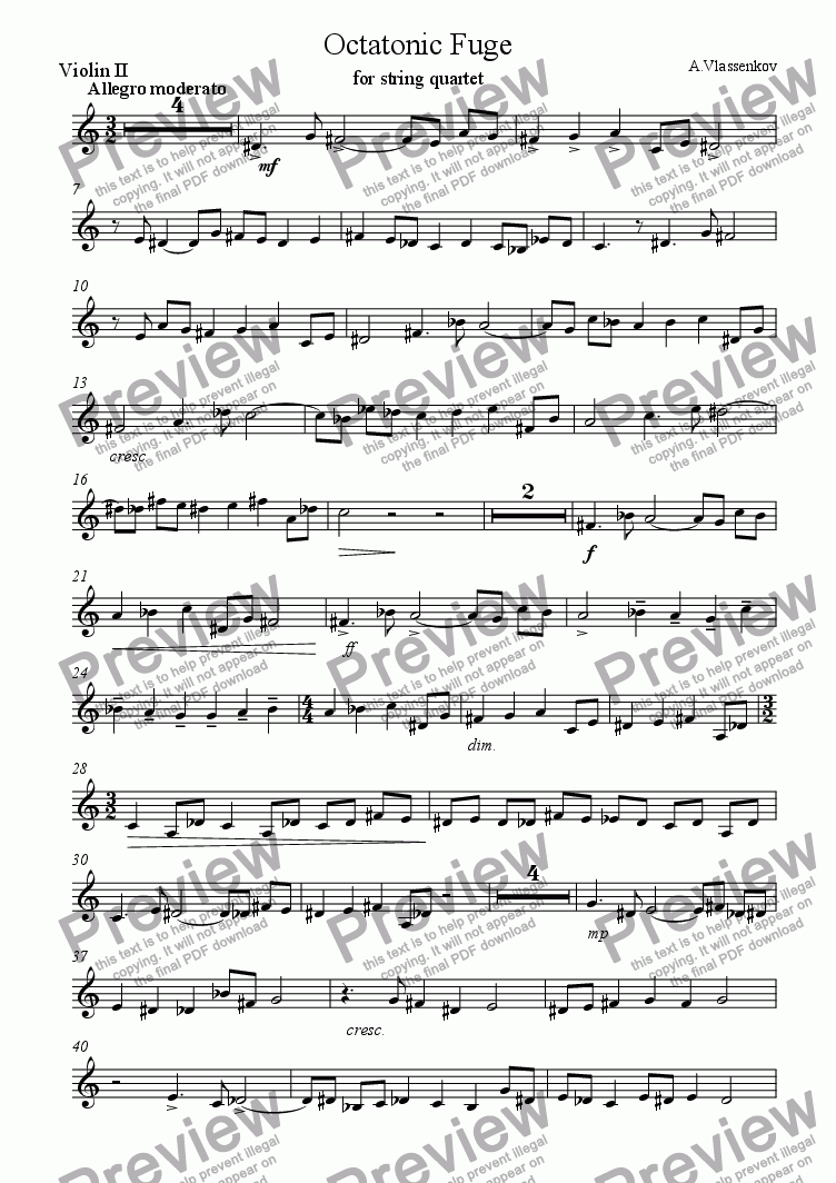page one of the Violin II part from Octatonic Fugue for string quartet