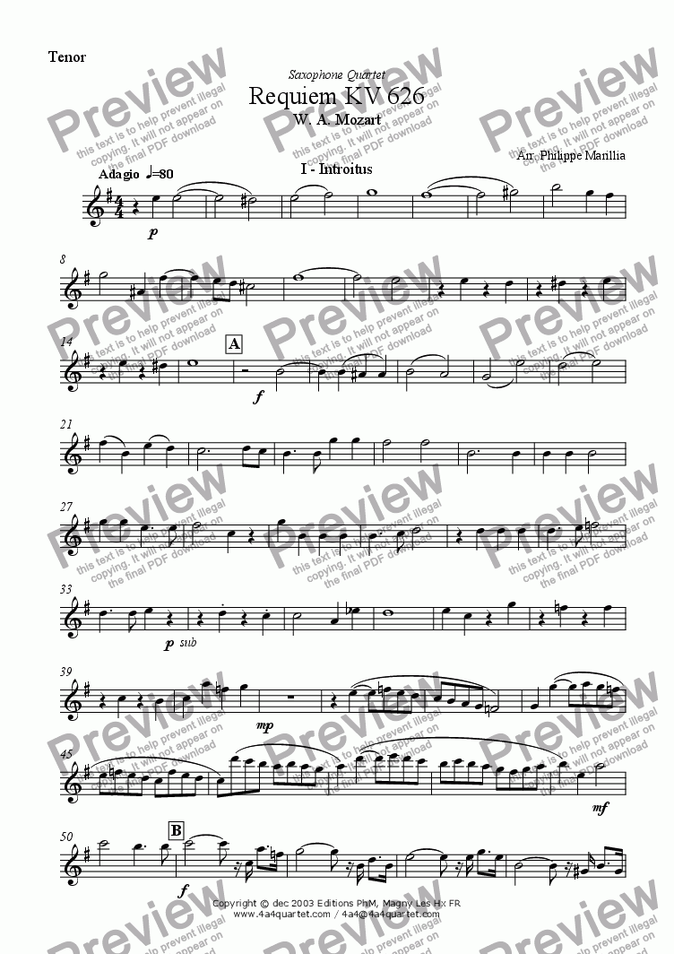 page one of the Tenor Sax part from Mozart - Requiem Introitus (Sax Quartet)
