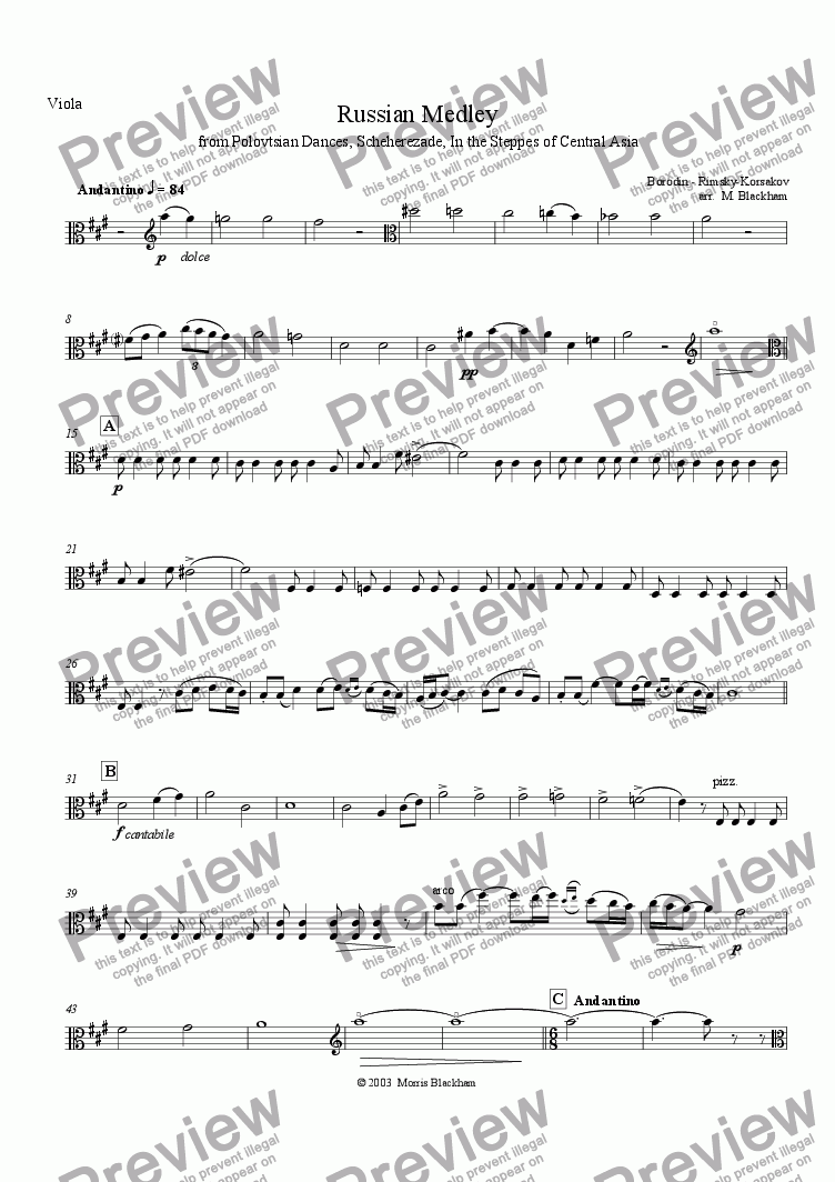 page one of the Viola part from Russian Medley