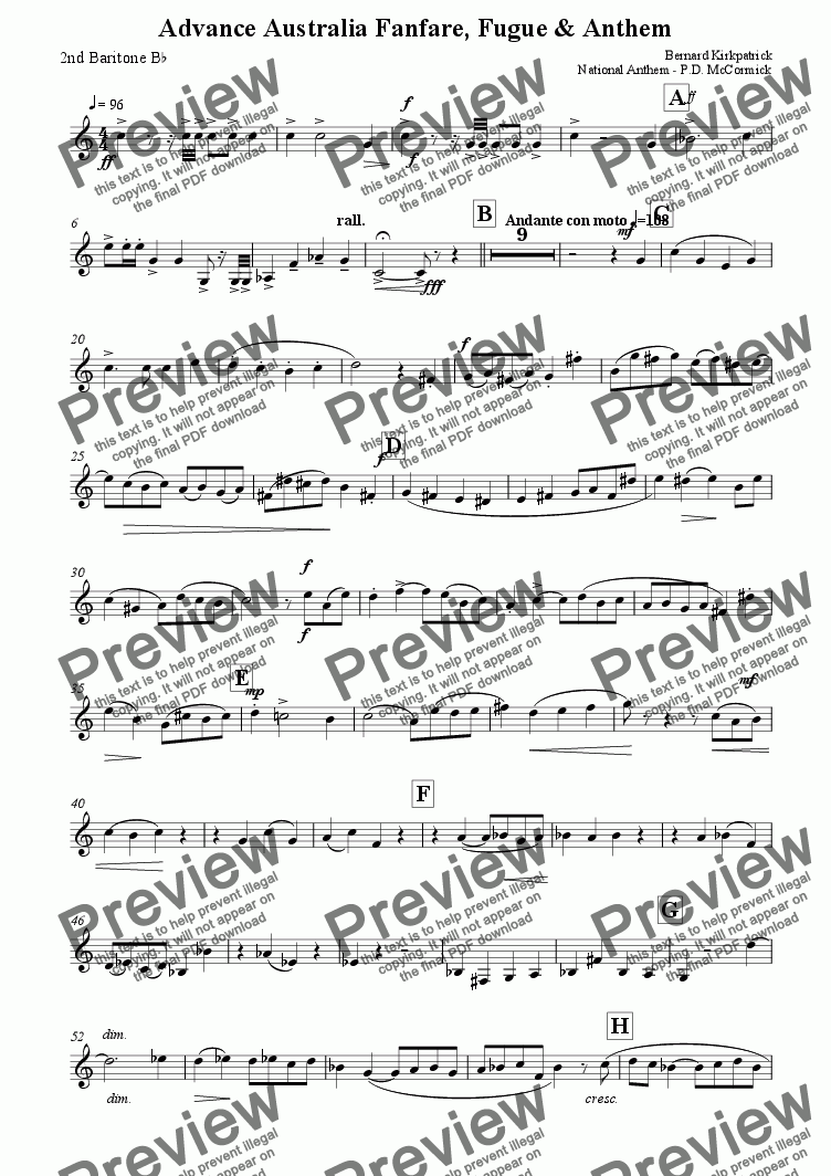 page one of the 2nd Bb Baritone part from Advance Australia Fair - Fanfare, Fugue & Anthem (Brass Band)