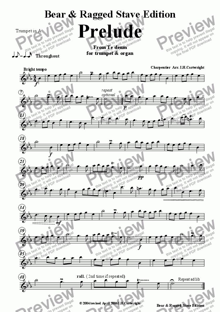 page one of the Trumpet in A part from Prelude from Te Deum  trumpet and Organ