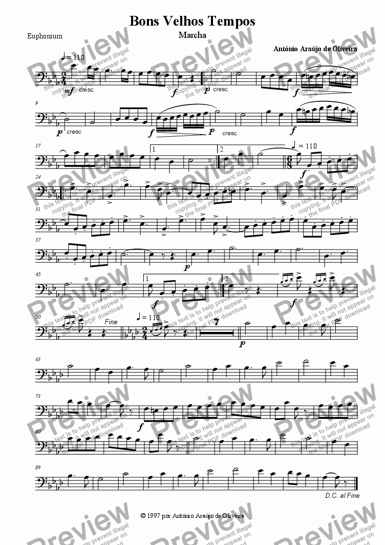 page one of the Euphonium part from Bons Velhos Tempos