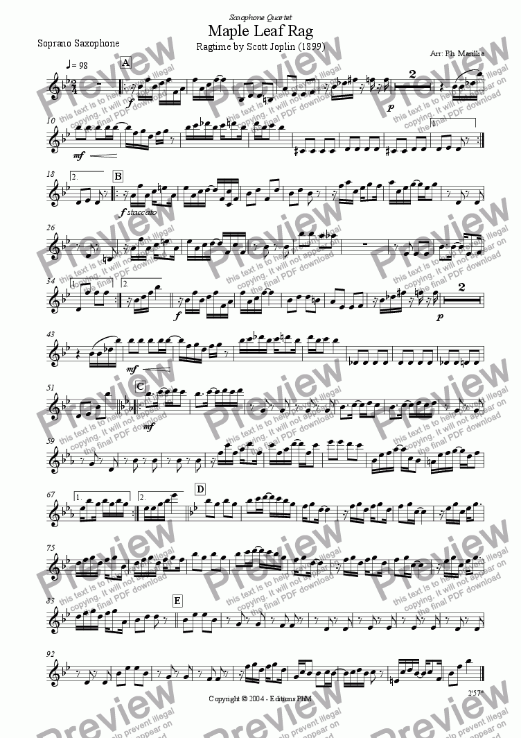 page one of the Soprano Sax part from Joplin - Maple Leaf Rag - Ragtime (Sax Quartet)