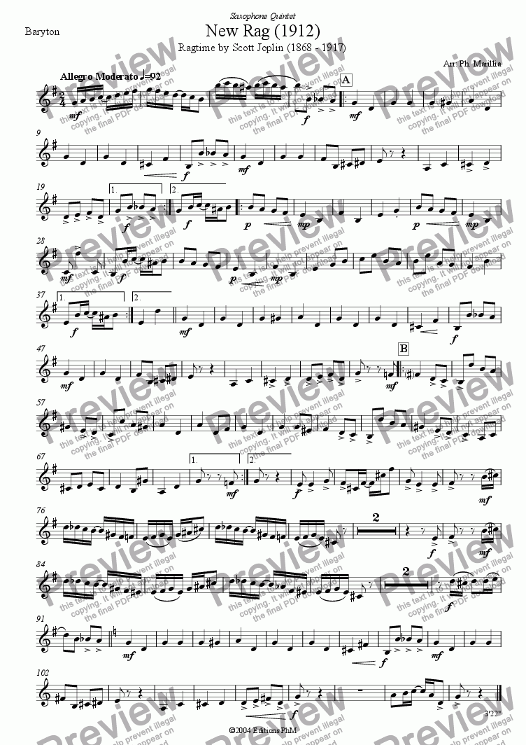 page one of the Baritone Sax part from Joplin - New Rag - Ragtime (Sax Quintet)