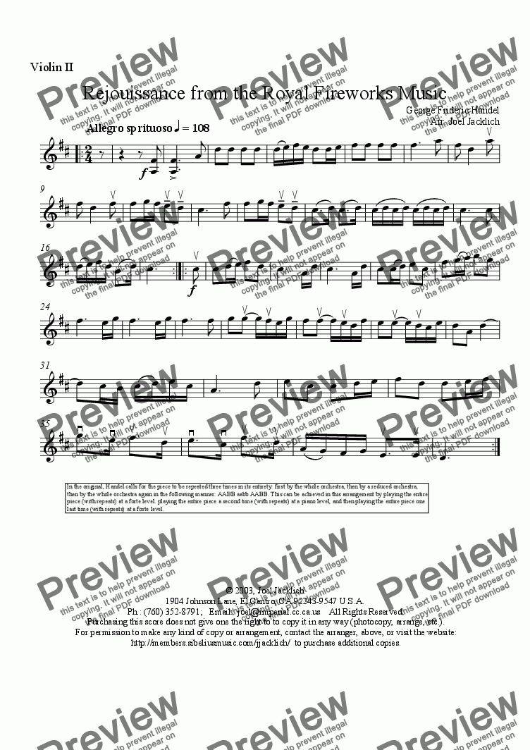 page one of the Violin II part from Royal Fireworks Music, La Rejouissance