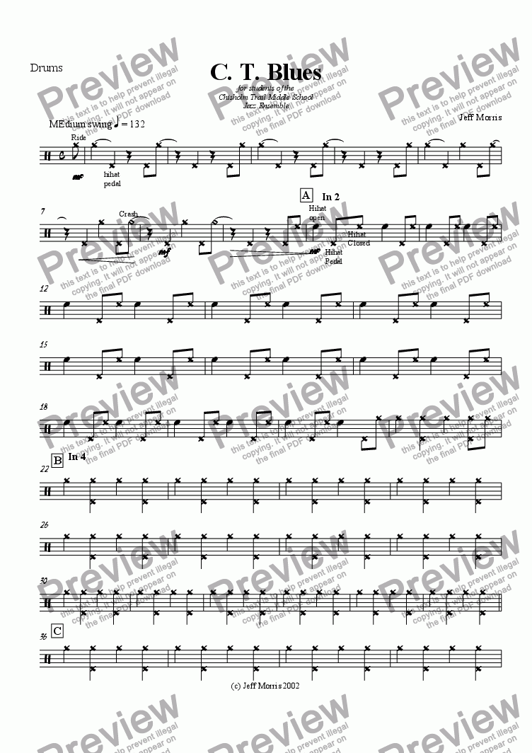 page one of the Drums part from CT Blues