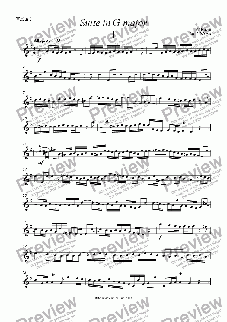 page one of the Violin I part from Suite in G Major