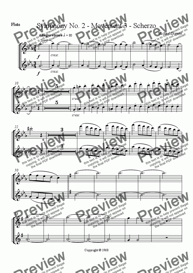 page one of the Flute part from Symphony No. 2, Movement 3 (Film Orchestra Version)
