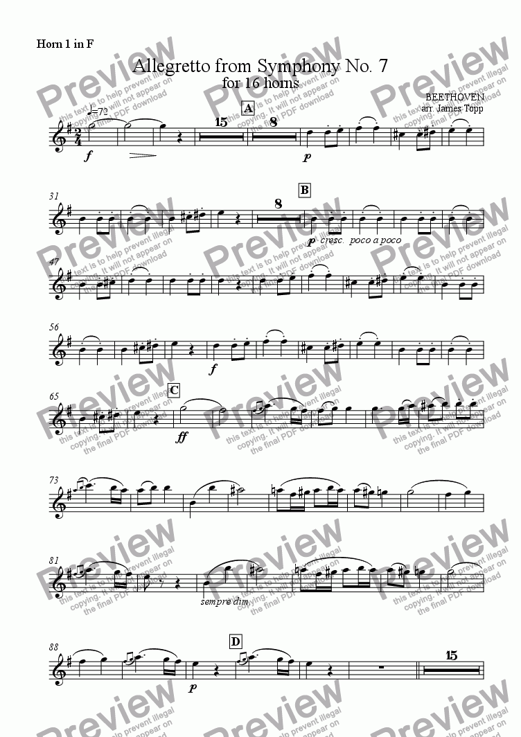 page one of the Horn 1 part from Allegretto from Symphony No. 7 (for 16 horns)