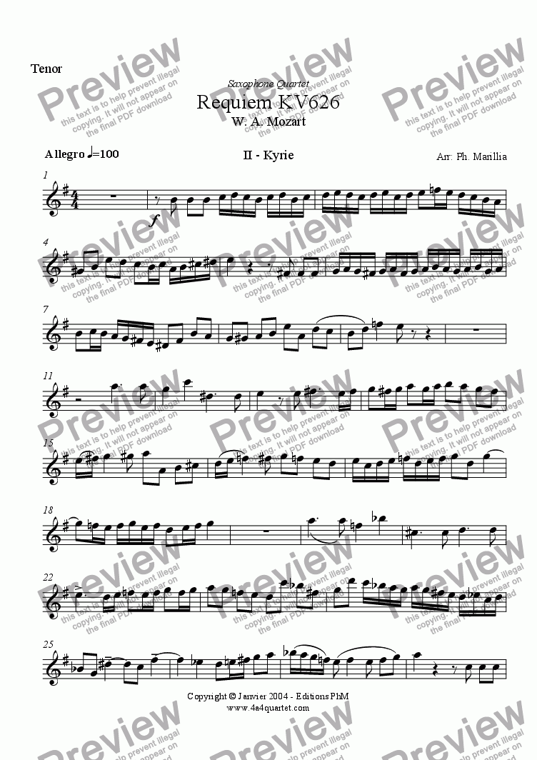 page one of the Tenor Sax part from Mozart - Requiem Kyrie (Sax Quartet)