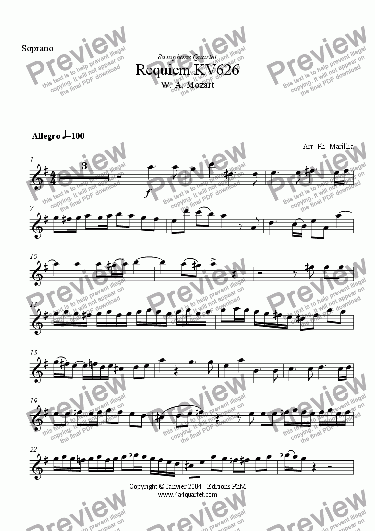 page one of the Soprano Sax part from Mozart - Requiem Kyrie (Sax Quartet)