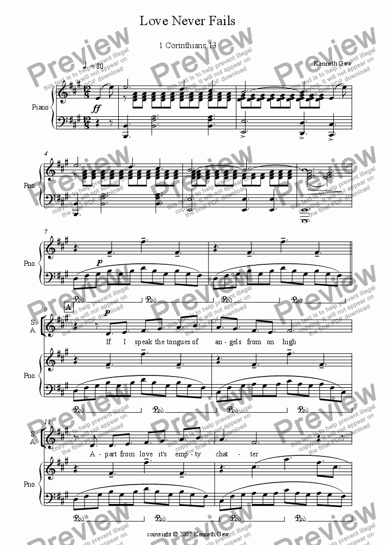 page one of the Voices and Piano part from Love Never Fails