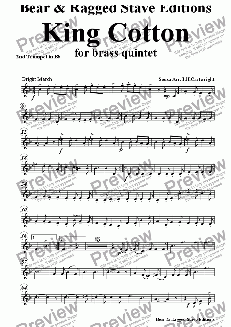 page one of the 2nd  Trumpet Bflat part from King Cotton for Brass Quintet