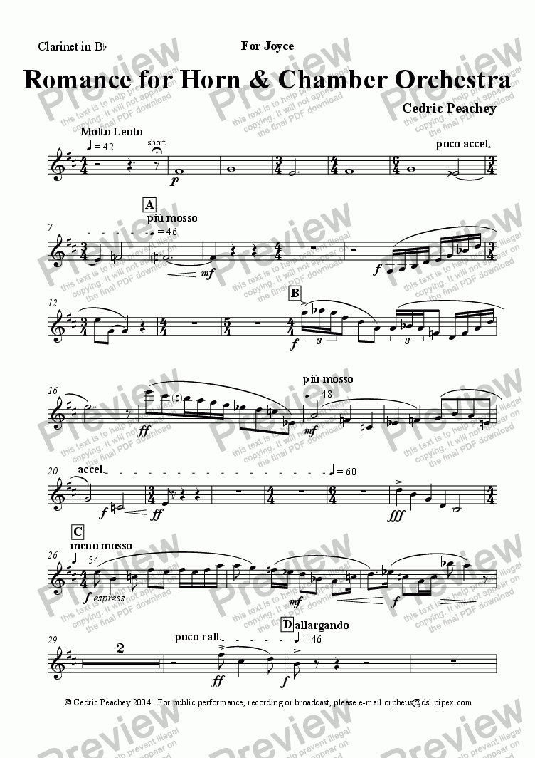 page one of the Clarinet in Bb part from Romance for Horn & Chamber Orchestra