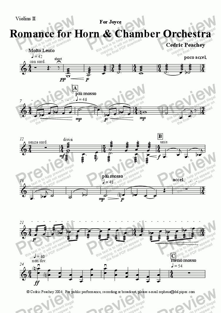 page one of the Violins II part from Romance for Horn & Chamber Orchestra