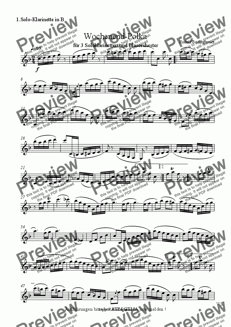 page one of the 1.Solo-Klarinette in B part from Wochenend-Polka