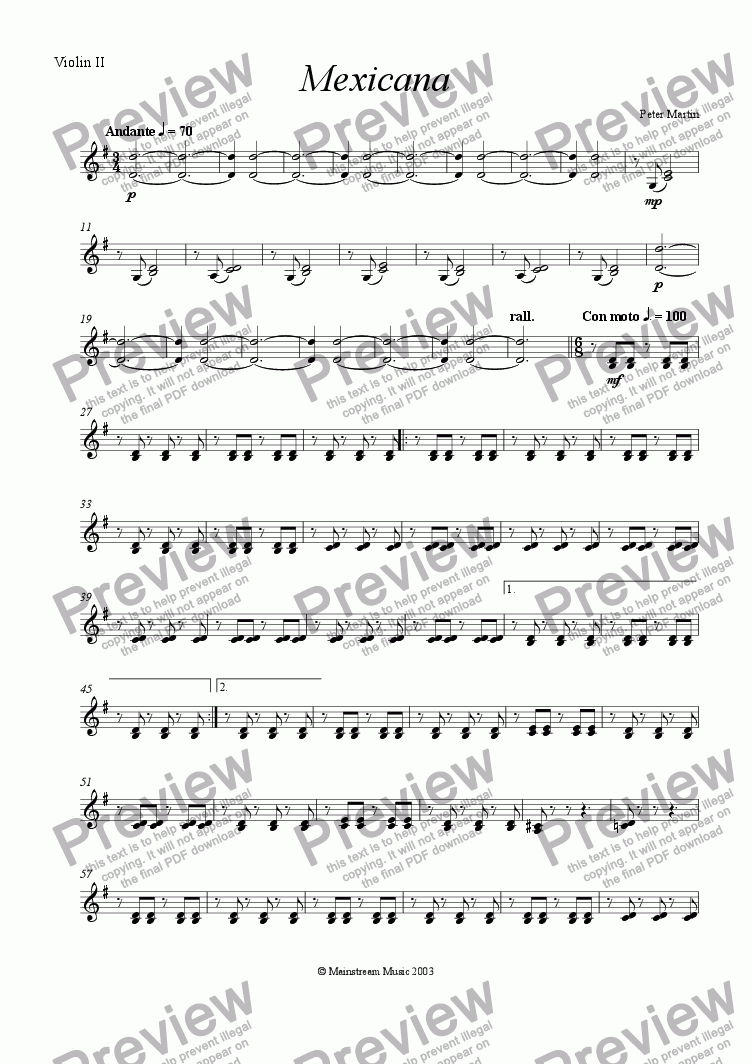 page one of the Violin II part from Mexicana