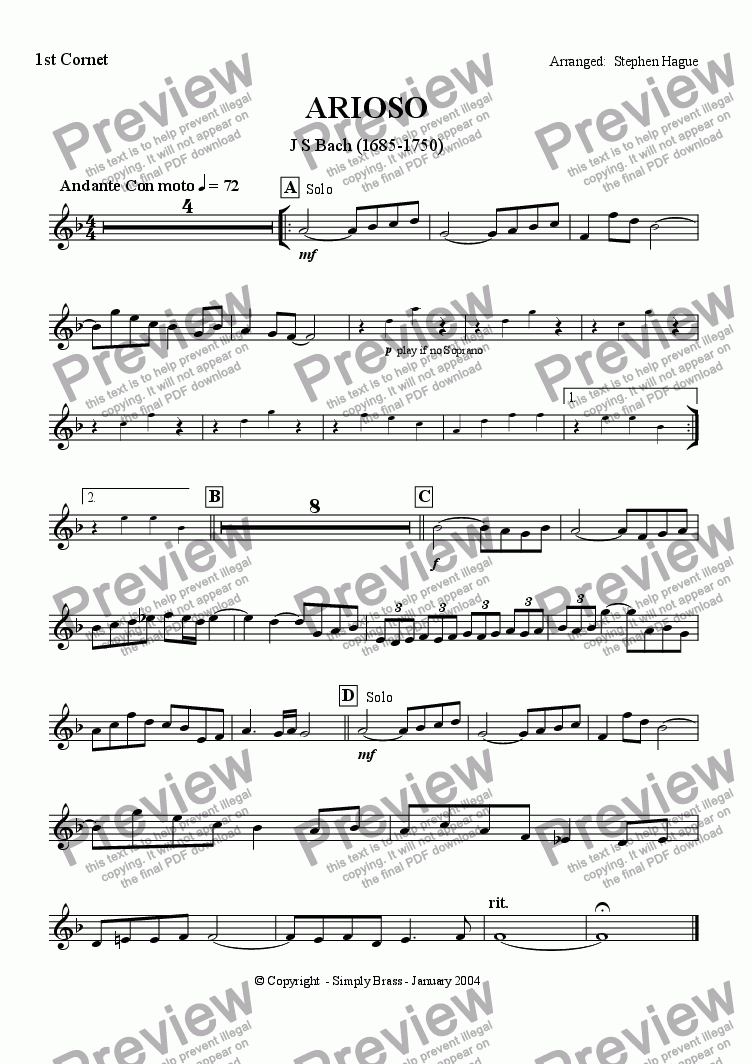 page one of the 1st Cornet part from Arioso