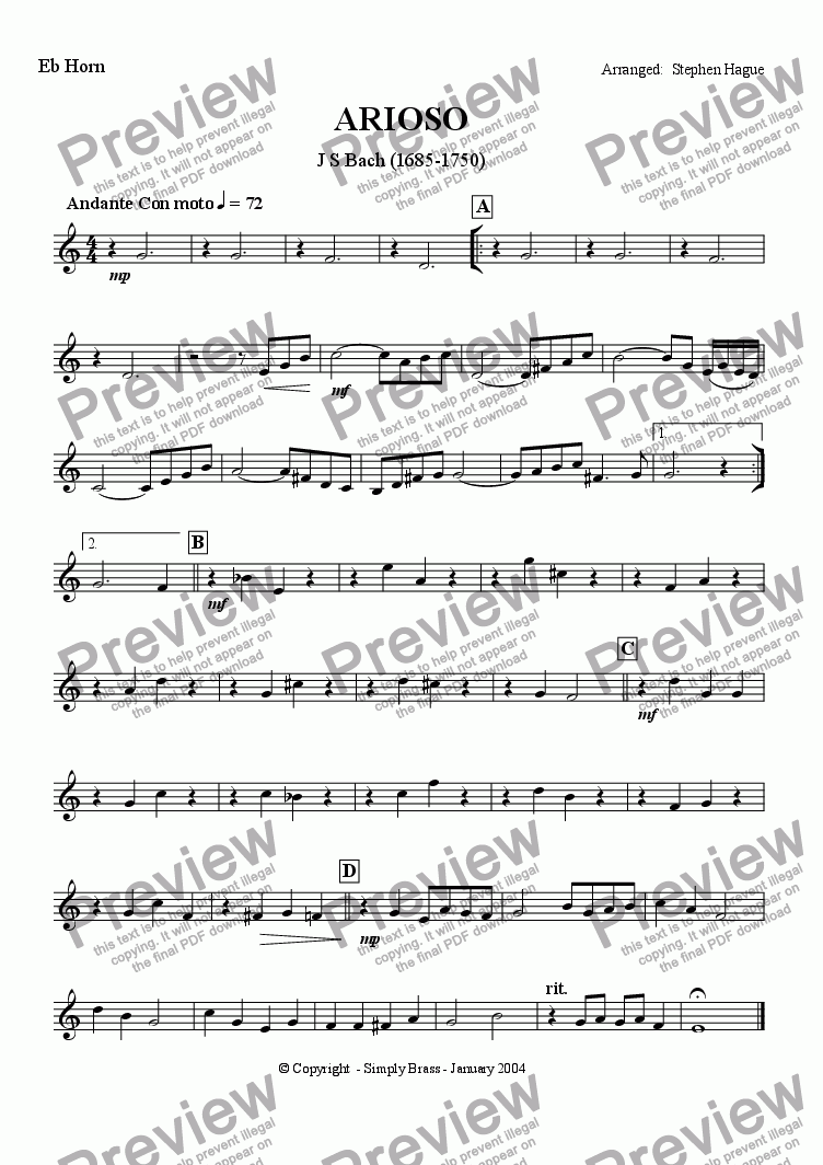page one of the Eb Horn part from Arioso