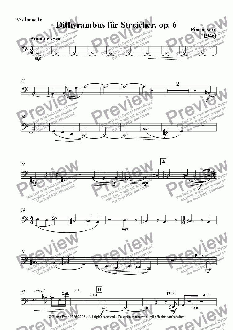 page one of the Cello part from Dithyrambus - for Strings, op. 6