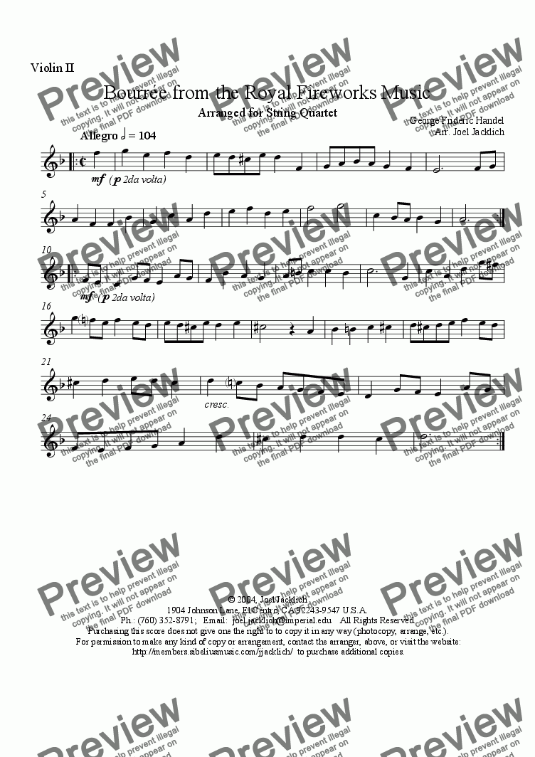 page one of the Violin II part from Royal Fireworks Music, Bourrée