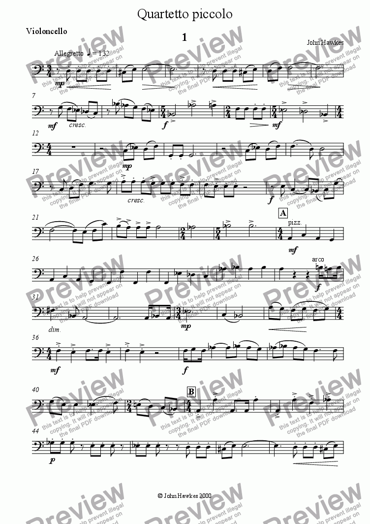 page one of the Cello part from Quartetto piccolo