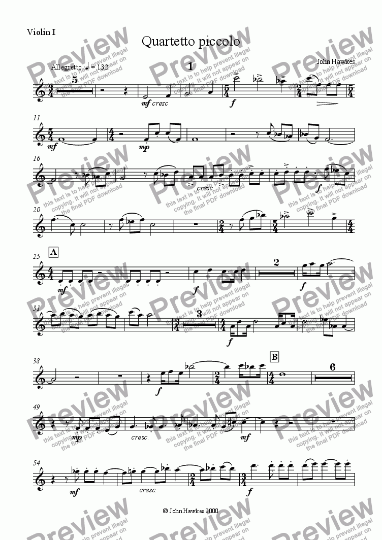 page one of the Violin 1 part from Quartetto piccolo