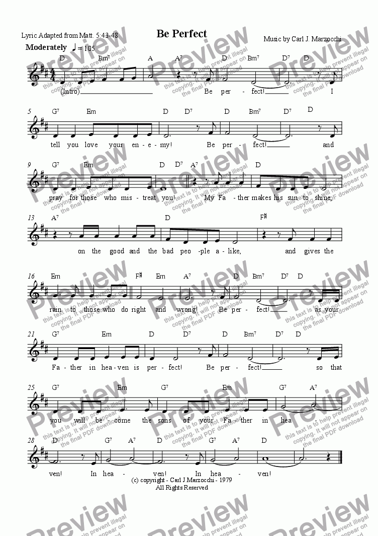 page one of the Guitar/Vocal Lead Sheet part from Be Perfect