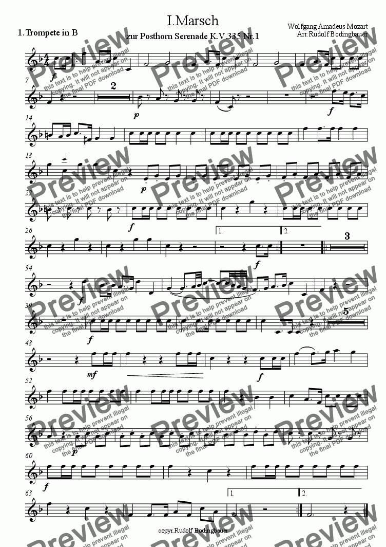 page one of the 1.Trompete in B part from 1. Marsch   W.A.Mozart