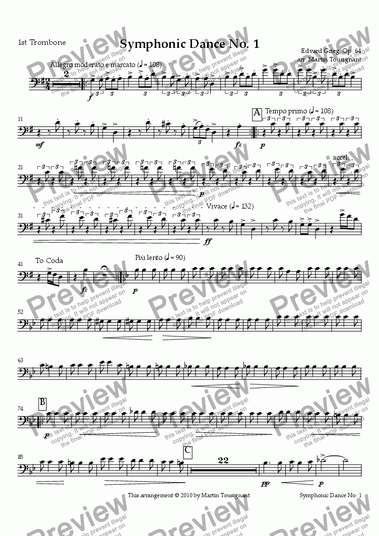 page one of the 1st Trombone part from Symphonic Dance No. 1