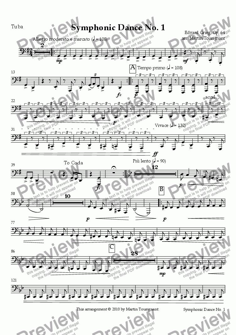 page one of the Tuba part from Symphonic Dance No. 1