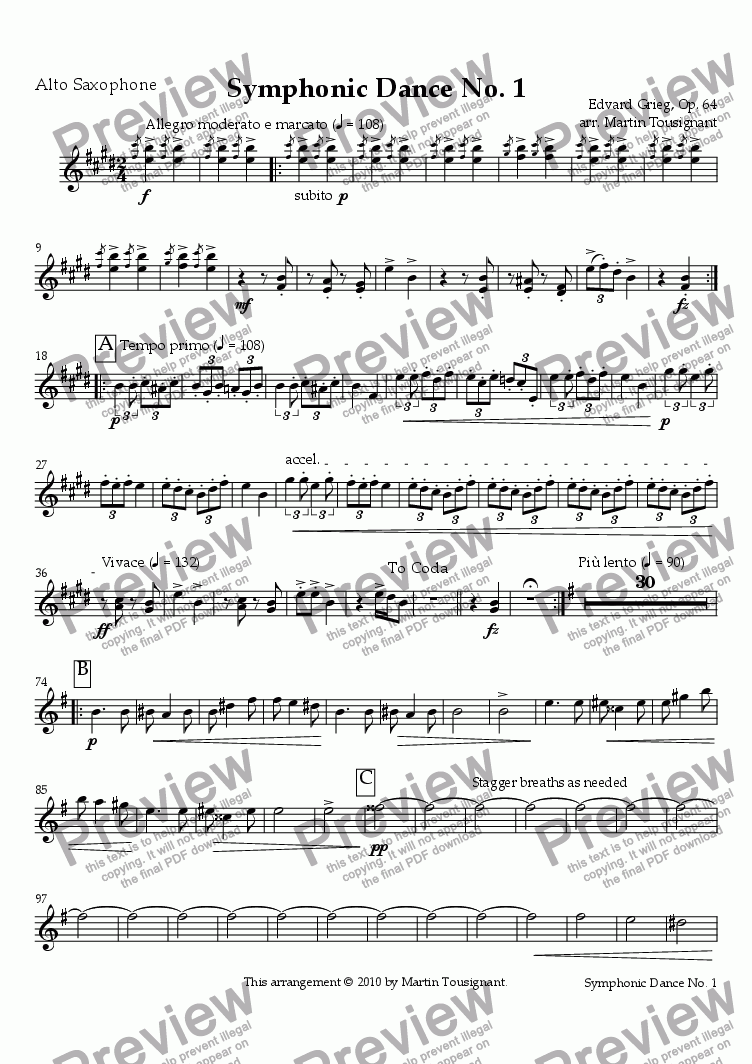 page one of the Alto Saxophone part from Symphonic Dance No. 1