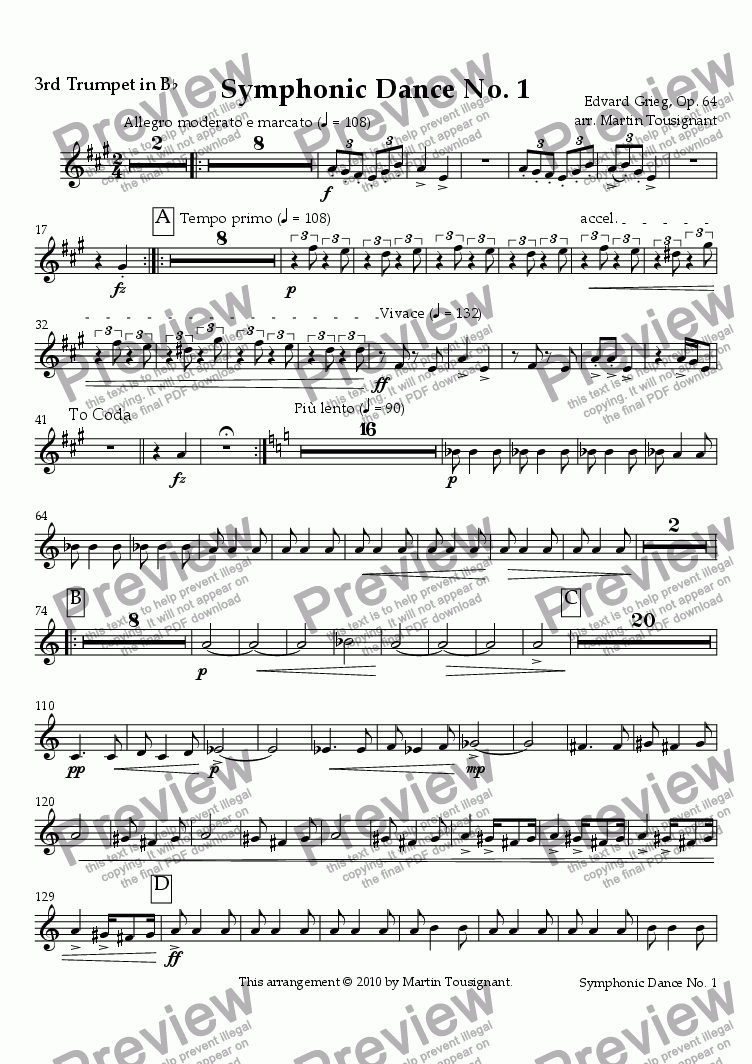 page one of the 3rd Trumpet in B^b part from Symphonic Dance No. 1