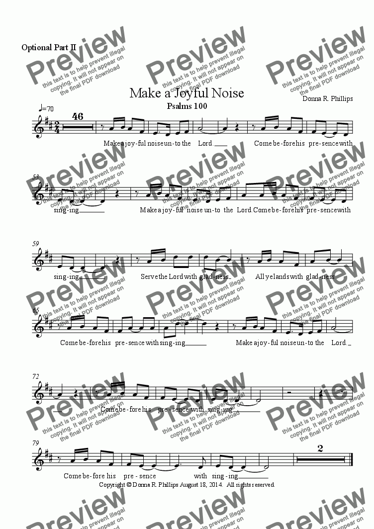 page one of the Vocal Optional Part II part from Make a Joyful Noise (Children's Choir w/partner song melody & Orff)