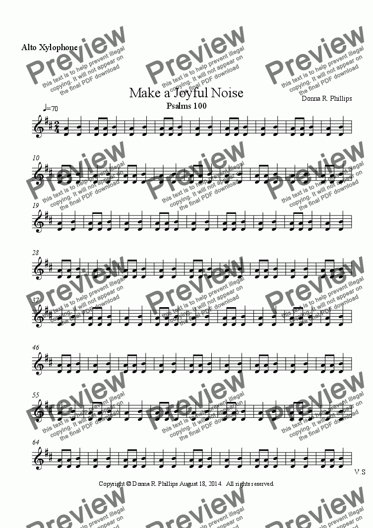 page one of the Alto Xylophone part from Make a Joyful Noise (Children's Choir w/partner song melody & Orff)
