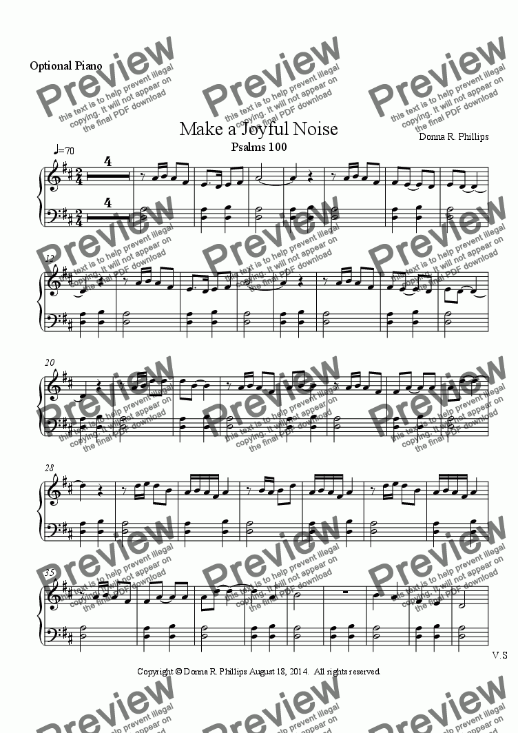 page one of the Optional Piano part from Make a Joyful Noise (Children's Choir w/partner song melody & Orff)
