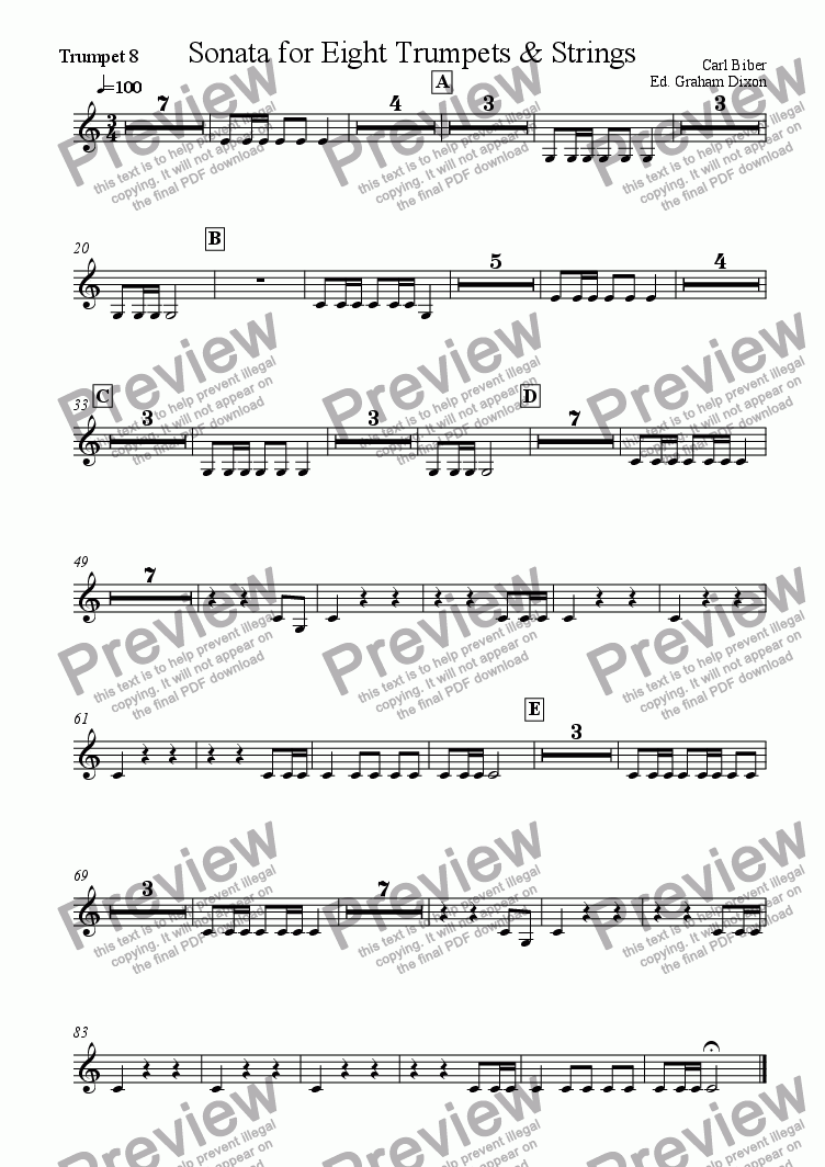 page one of the Trumpet 8 part from Sonata for Eight Trumpets & Strings