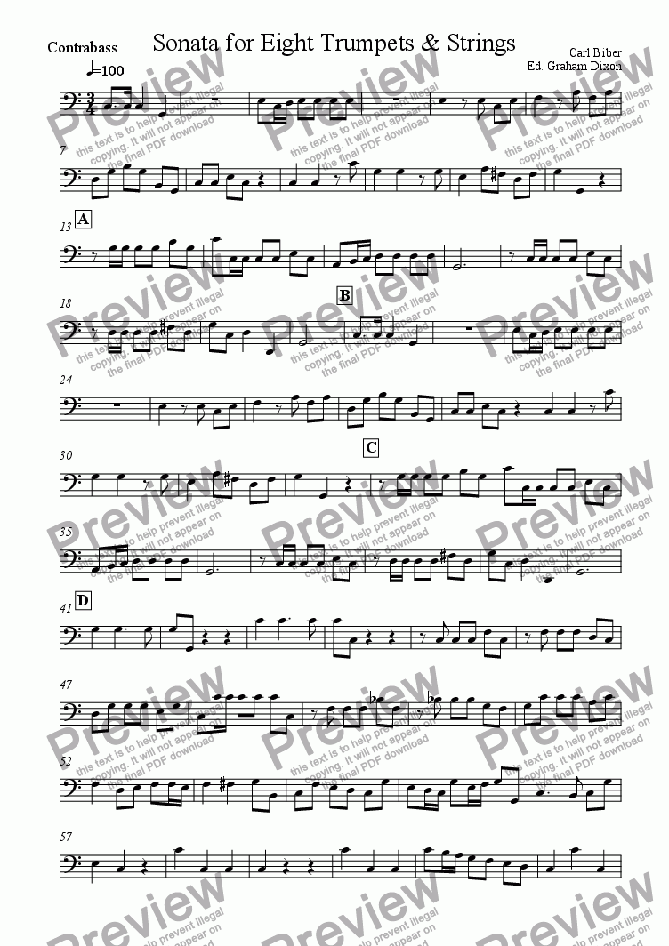 page one of the Bass part from Sonata for Eight Trumpets & Strings