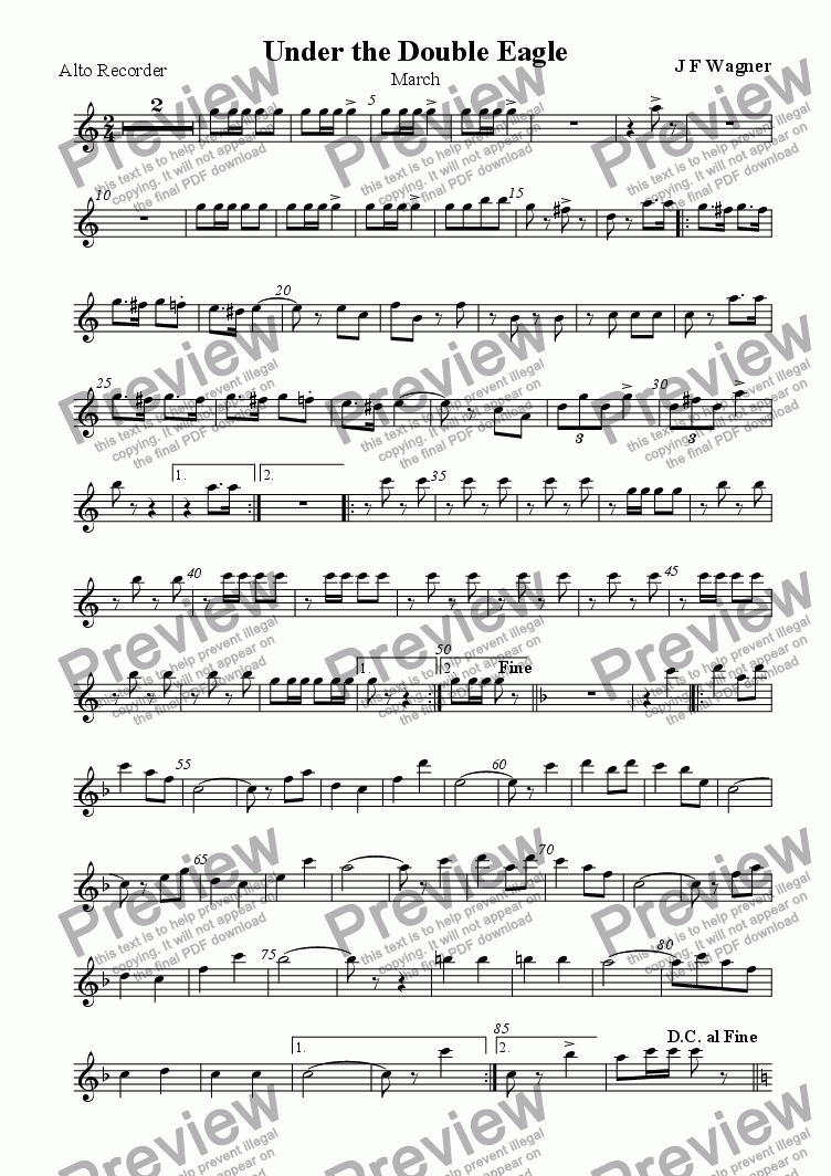 page one of the Alto recorder part from Under the Double Eagle
