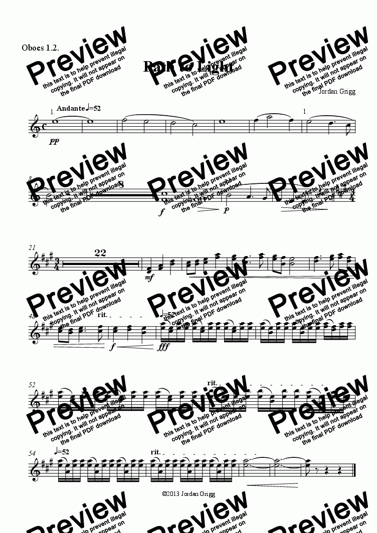 page one of the Oboes 1.2. part from Path to Light