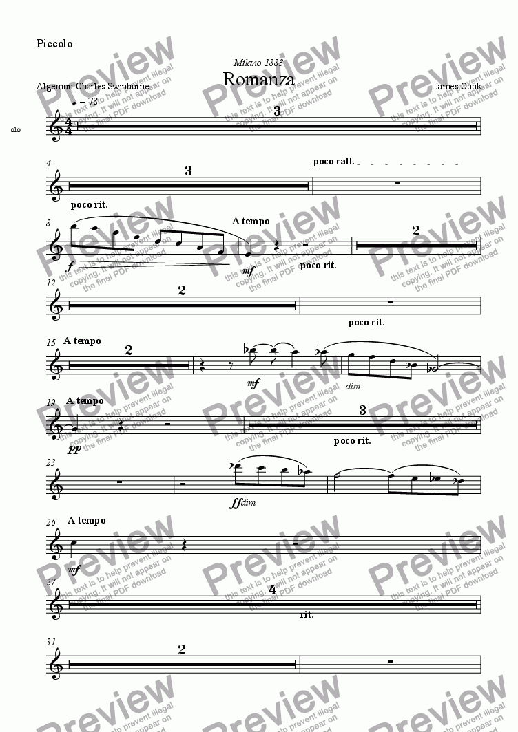 page one of the Piccolo part from Romanza