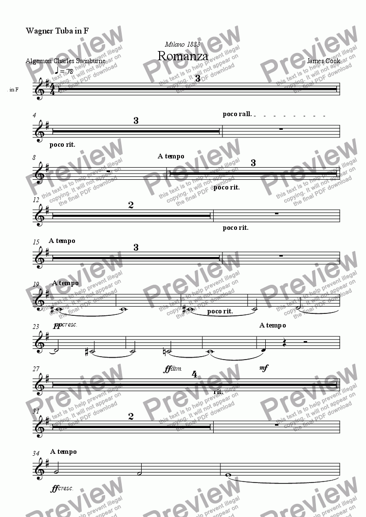 page one of the Wagner Tuba in F part from Romanza