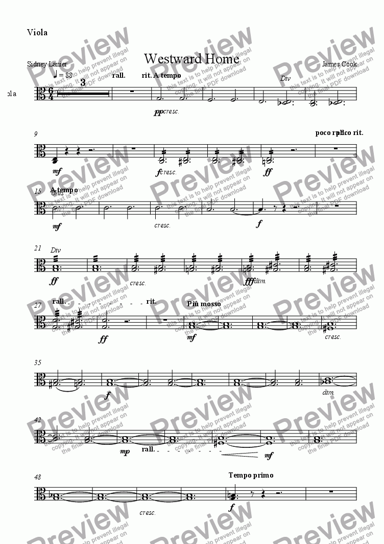 page one of the Viola part from Westward Home