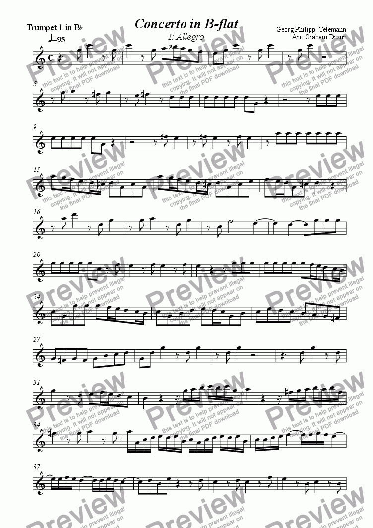 page one of the Trumpet 1 part from Concerto for Three Trumpets & Three Violins