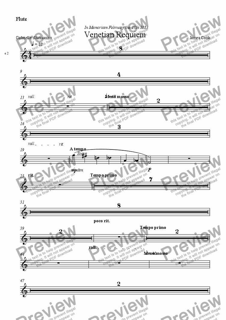 page one of the Flute part from Venetian Requiem