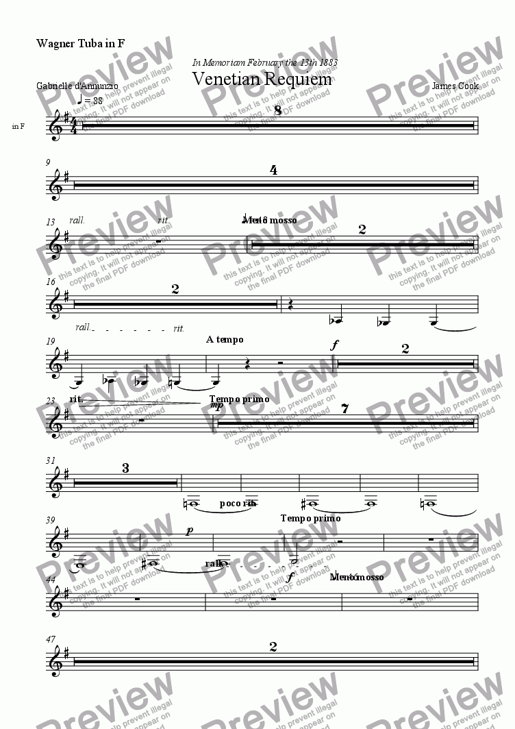 page one of the Wagner Tuba in F part from Venetian Requiem