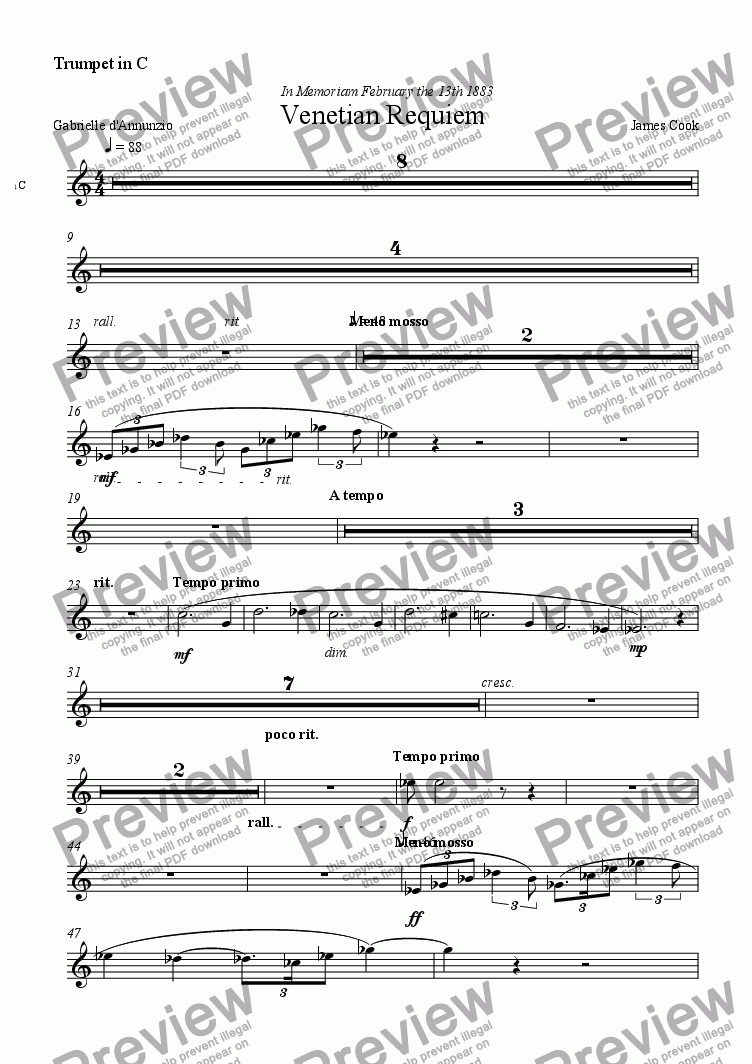 page one of the Trumpet in C part from Venetian Requiem