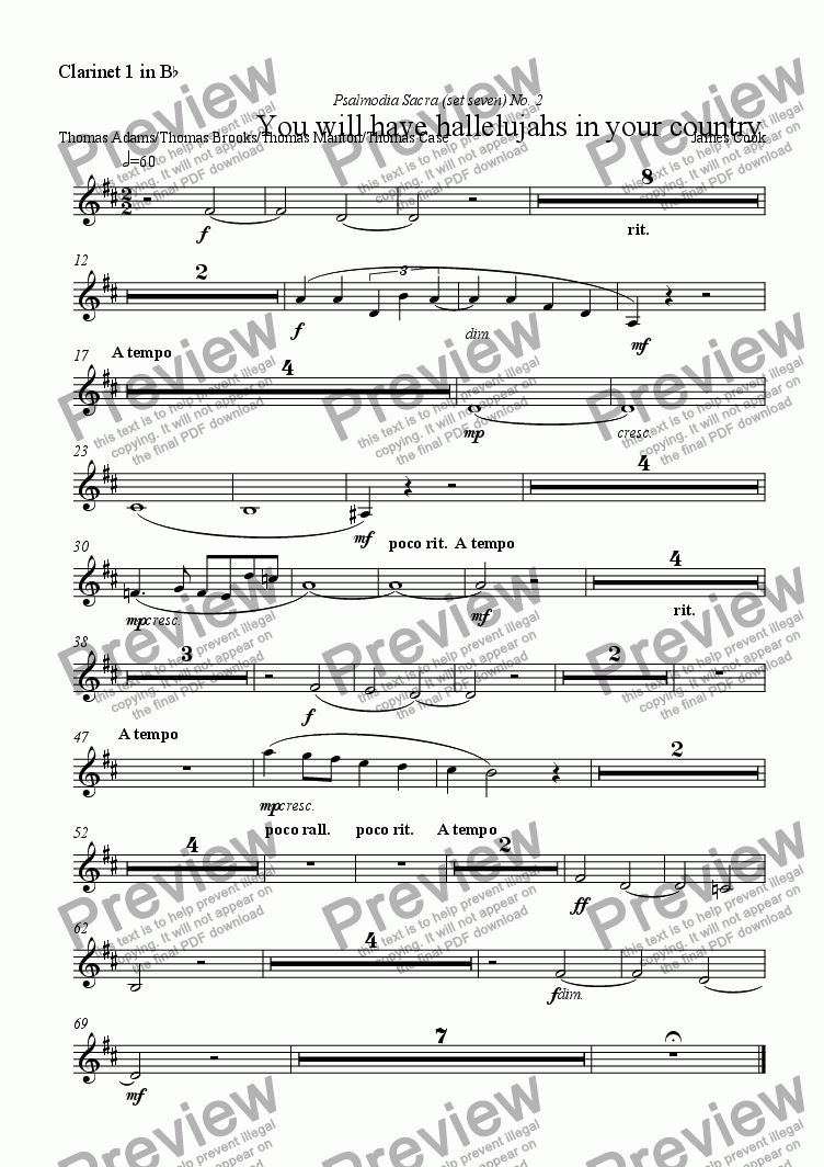 page one of the Clarinet 1 in B^b part from You will have hallelujahs in your country