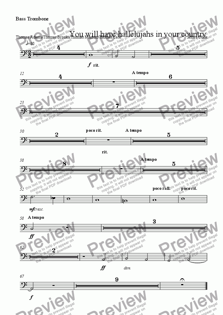 page one of the Bass Trombone part from You will have hallelujahs in your country